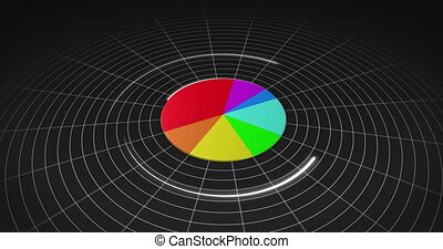 Colourful 3d pie chart on black grid background