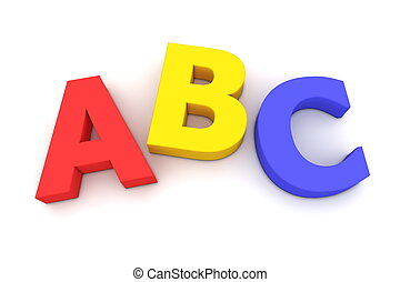 multicoloured letters ABC on white background