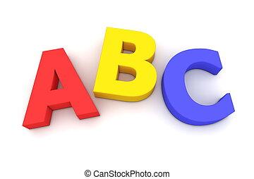 Colourful ABC - multicoloured letters ABC on white...