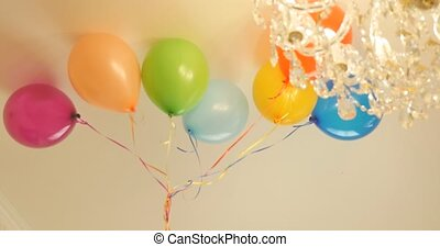 Colourful air balloons at party