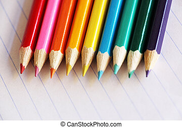 Colourful array of pencil crayons