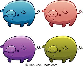Colourful Assorted Piggies - Set of colourful assorted pigs