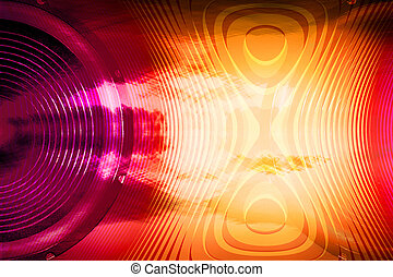 Red and yellow audio speaker and soundwaves background