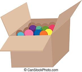 Colourful ball in corrugated box illustration