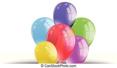 Colourful balloon on white background