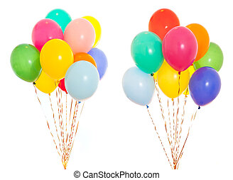 colourful balloons bunch filled with helium isolated on ...