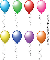 Colourful balloons - Collection of different coloured ...