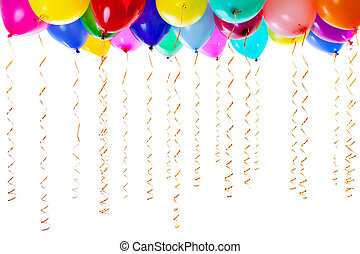 colourful balloons filled with helium and with golden ...