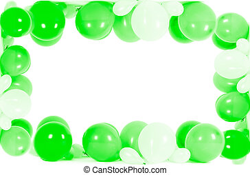 Colourful balloons isolated in shape of frame
