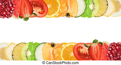 Colourful banner of fruits and salad on white background. ...