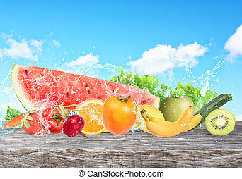 Colourful banner of fruits. Healthy food concept