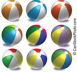 Colourful beach balls