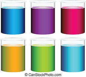 Illustration of the colourful beakers on a white background