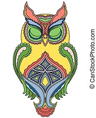 Colourful big owl with close eyes