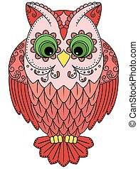 Colourful big red owl