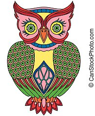 Colourful big serious owl