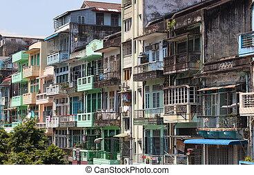 Colourful blocks of units. Yangon. Myanmar.