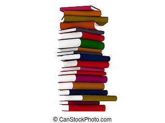Colourful books over white