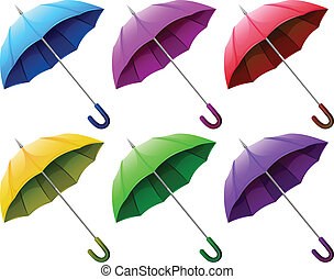 Illustration of the colourful brollies on a white background