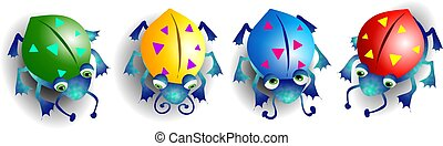Colourful Bugs - Different coloured cartoon style bugs.