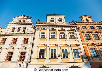 Colourful buildings in Old Town square in Prague in a beautiful autumn day, Czech Republic