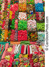 Colourful candies on a market - A candy for every taste in...