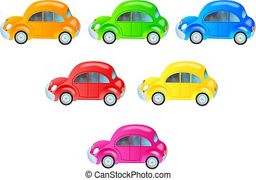 Colourful Cars - A collection of cute bubble cars in...