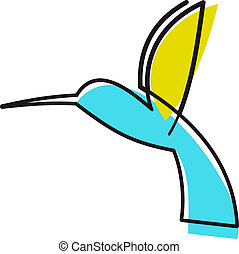 Colourful cartoon hummingbird hovering midair with its wings...