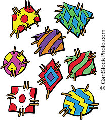 Colourful Cartoon Style Patches Vector Illustration