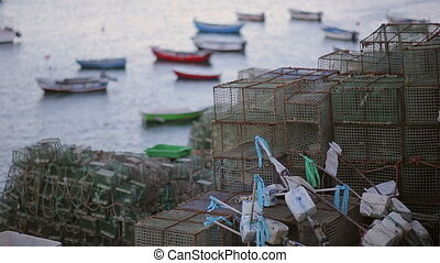 colourful cascais fish boat marina, evening, fishing nets -...