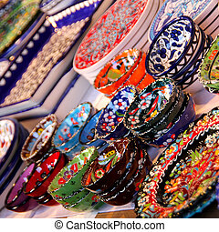 Beautiful colourful Ceramic tableware and giftware on a market stall