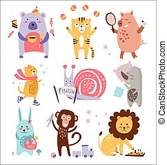 Colourful Childish Animals Vector Set - Colourful Childish...