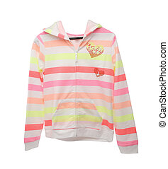 Colourful children's jacket isolated on a white background