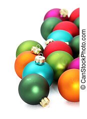 Colourful Christmas baubles over white