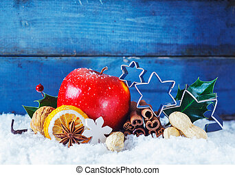 Colourful Christmas still life background