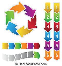 Colourful circle diagram and arrows - Colourful circle...