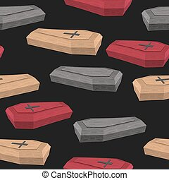 Colourful coffins seamless pattern