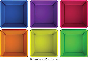 Colourful containers - lllustration of the colourful...
