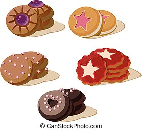 Colourful Cookies. Set of Cartoon Vector Icons.