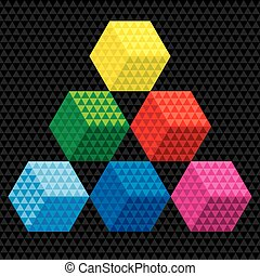 Colourful Cube and Triangle Background