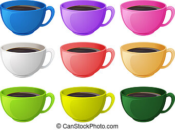 Colourful cups with coffee - Illustration of the colourful...