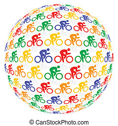 Colourful cyclists