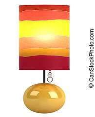 Colourful cylindrical lampshade and base - Colourful...