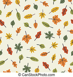 Colourful different leaves. Seasonal autumn seamless pattern.
