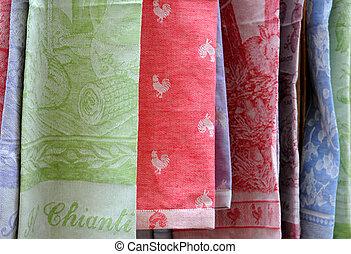 Colourful dishtowels in Chianti