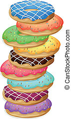 Illustration of the colourful doughnuts on a white background
