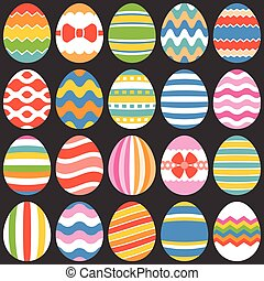 colourful easter eggs, flat design set 1
