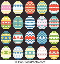 colourful easter eggs, flat design set 3
