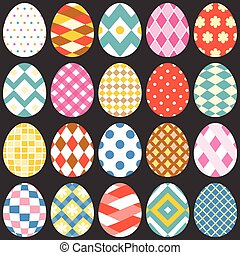 colourful easter eggs, flat design set