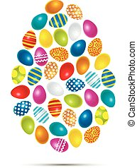Colourful easter eggs in egg shape on white